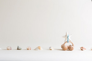 Toy car summer travel theme with seashells and starfish