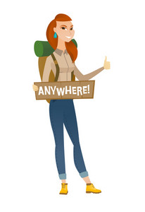 Traveler hitchhiking with tablet with text anywhere. Hitchhiking traveler trying to stop car. Traveler catching car and showing thumb up. Vector flat design illustration isolated on white background.
