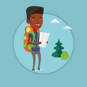 Traveler with backpack and binoculars looking at map. Traveler exploring the map. Traveler searching right direction on a map. Vector flat design illustration in the circle isolated on background.