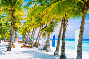 Tropical beach at Panglao Bohol island with chairs on the white sand beach with blue sky and palm trees. Travel Vacation