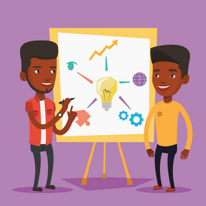 Two african-american businessmen discussing a project. Group of young businessmen working on project. Businessman drawing business project on a board. Vector flat design illustration. Square layout.
