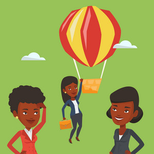 Two african-american employees looking at their successful colleague. Hardworking employee flying away in balloon from her less successful colleagues. Vector flat design illustration. Square layout.