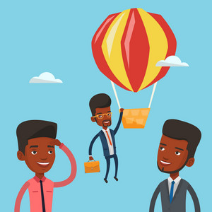 Two african-american employees looking at their successful colleague. Hardworking employee flying away in balloon from less successful colleagues. Vector flat design illustration. Square layout.