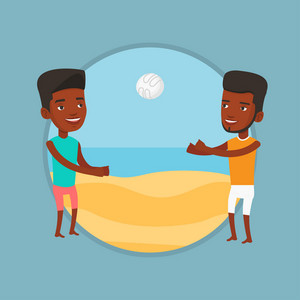 Two african-american men having fun while playing beach volleyball during summer holiday. Man playing beach volleyball with friend. Vector flat design illustration in the circle isolated on background