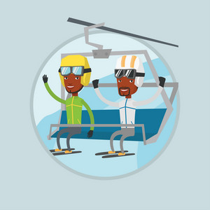 Two african-american men sitting on ski elevator. Skiers using cableway at ski resort. Skiers on cableway at winter sport resort. Vector flat design illustration in the circle isolated on background.