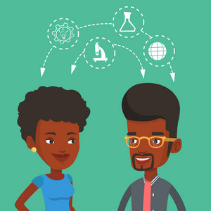 Two african-american students sharing with the ideas during brainstorming. Young happy students brainstorming. Concept of brainstorming in education. Vector flat design illustration. Square layout.