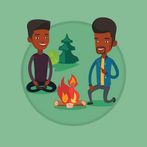 Two african friends sitting around campfire. Group of young friends having fun near campfire. Tourists relaxing near campfire. Vector flat design illustration in the circle isolated on background.
