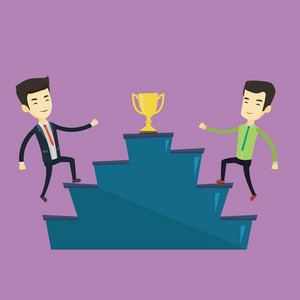 Two asian business men competing to get golden trophy. Two competitive business men running up for the golden trophy. Business competition concept. Vector flat design illustration. Square layout.