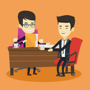 Two asian businessmen talking on business meeting. Businessmen drinking coffee on business meeting. Two young businessmen during business meeting. Vector flat design illustration. Square layout.