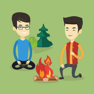 Two asian friends sitting around campfire. Group of young friends having fun in camping. Tourists relaxing near campfire. Concept of travel and tourism. Vector flat design illustration. Square layout.