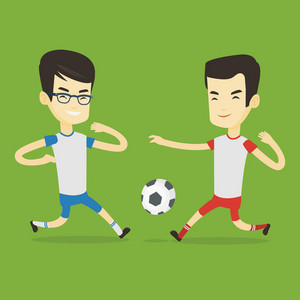 Two asian soccer players fighting over control of ball during a football match at stadium. Football players in action during a champions league match. Vector flat design illustration. Square layout.