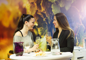 Two beautiful women having fun in a wine bar