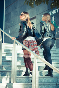 two beautiful young women in the city