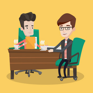 Two businessmen with cups of coffee talking in the office. Businessman interviewing male candidate for a position. Two men during business meeting. Vector flat design illustration. Square layout.