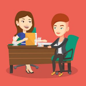 Two businesswomen talking on business meeting. Businesswomen drinking coffee on business meeting. Two caucasian businesswomen during business meeting. Vector flat design illustration. Square layout