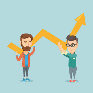 Two caucasain smiling business men holding growth graph. Cheerful business team with growth graph. Concept of business growth and teamwork. Vector flat design illustration. Square layout.