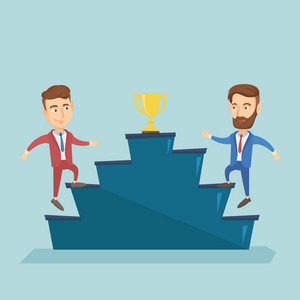 Two caucasian business men competing to get golden trophy. Two competitive business men running up for the golden trophy. Business competition concept. Vector flat design illustration. Square layout.