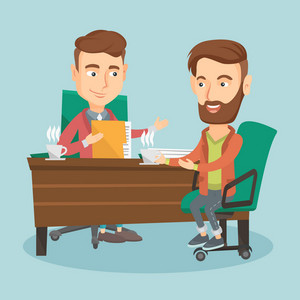 Two caucasian businessmen talking on business meeting. Businessmen drinking coffee on business meeting. Two young businessmen during business meeting. Vector flat design illustration. Square layout.