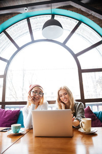 Two cheerful beautiful young women sitting and using laptop in cafe