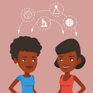 Two female african students sharing with the ideas during brainstorming. Young happy students brainstorming. Concept of brainstorming in education. Vector flat design illustration. Square layout.