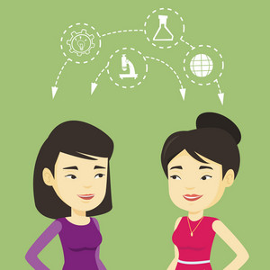Two female asian students sharing with the ideas during brainstorming. Young happy students brainstorming. Concept of brainstorming in education. Vector flat design illustration. Square layout.