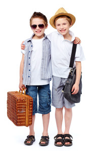 Two friends going for a picnic, isolated against white background