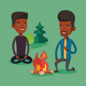Two happy friends sitting around campfire. Group of young friends having fun in camping. Tourists relaxing near campfire. Concept of travel and tourism. Vector flat design illustration. Square layout.