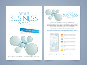 Two pages business brochure or flyer with smartphone for your professional reports and presentations.