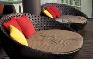 Two round brown fabric sofa