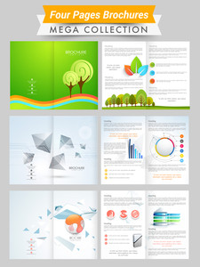 Two sided presentation of ecological and professional brochures or flyers with green leaves and infographical