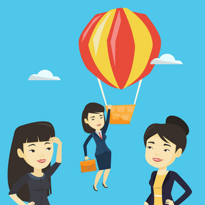 Two young asian employees looking at their successful colleague. Hardworking worker flying away in a balloon from her less successful colleagues. Vector flat design illustration. Square layout.