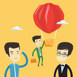 Two young asian employees looking at their successful colleague. Hardworking worker flying away in a balloon from his less successful colleagues. Vector flat design illustration. Square layout.