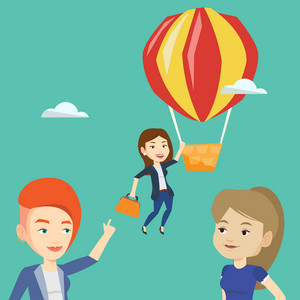 Two young caucasian employees looking at their successful colleague. Hardworking worker flying away in a balloon from her less successful colleagues. Vector flat design illustration. Square layout.
