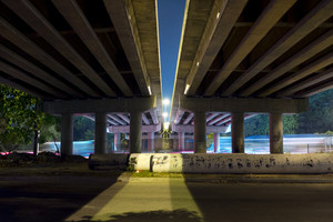 under the bridge during the night