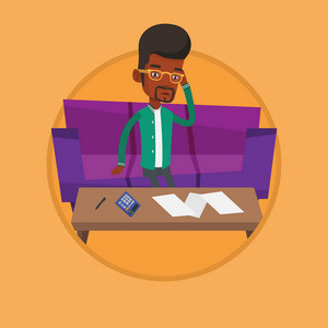 Unhappy african-american man calculating home bills. Man sitting on sofa and accounting costs and mortgage for paying home bills. Vector flat design illustration in the circle isolated on background.