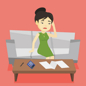 Unhappy asian woman calculating home bills. Woman sitting on sofa and accounting costs and mortgage for paying home bills. Girl analyzing home bills. Vector flat design illustration. Square layout