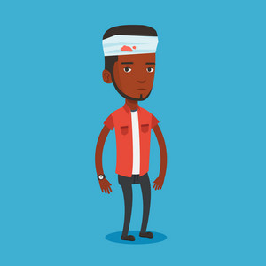 Upset african-american man with bandages over her head. Sad injured man with a bandaged head. Full length of young man wounded in head. Vector flat design illustration. Square layout.