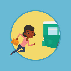 Upset african-american woman running for an outgoing bus. Woman running to catch bus. Sad latecomer woman running to reach a bus. Vector flat design illustration in the circle isolated on background.