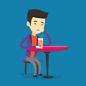 Upset asian man sitting in bar and drinking cocktail. Young sad man sitting alone in bar with cocktail on the table. Man drinking cocktail in bar. Vector flat design illustration. Square layout.