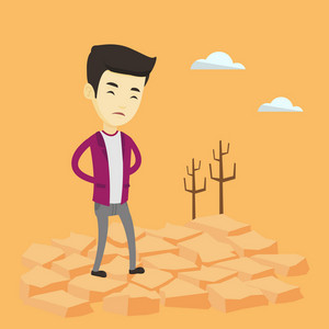 Upset asian man standing in the desert. Frustrated young man standing on cracked earth in the desert. Concept of climate change and global warming. Vector flat design illustration. Square layout.
