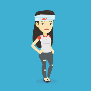 Upset asian woman with bandages over her head. Sad injured woman with a bandaged head. Full length of young sorrowful woman wounded in head. Vector flat design illustration. Square layout.