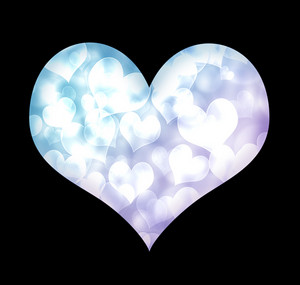 Valentine blue heart isolated on black background