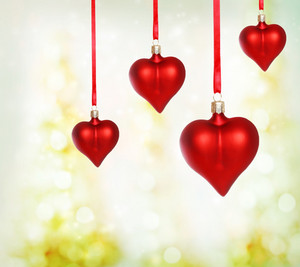 Valentine heart ornaments with abstract light background
