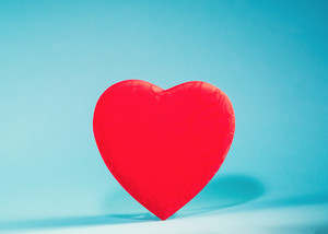 Valentine's day heart ornament on a blue background