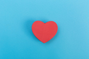 Valentine's Day heart shaped boxes on a blue background