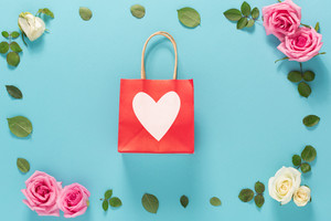 Valentine's Day theme with flowers on a blue background
