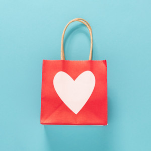 Valentine's day theme with heart shaped bag