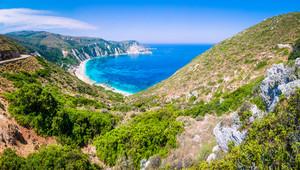 Valley goes to beautiful Myrtos Beach on Kefalonia Island, Greece