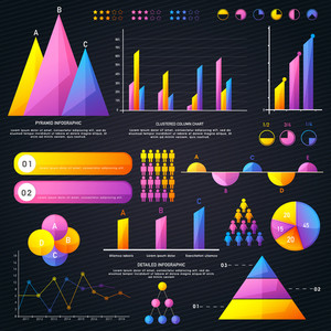 Various Business Infographic elements set with colorful statistical graphs, charts and bar for your professional presentation.