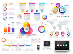 Various Business Infographic elements set with statistical graphs, charts, world map and digital device.